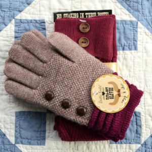 Britt's Knits Gloves & Boot Sock Set in Wine Red